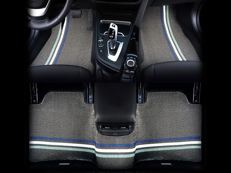 Car mat grey bottom blue and white edge combination