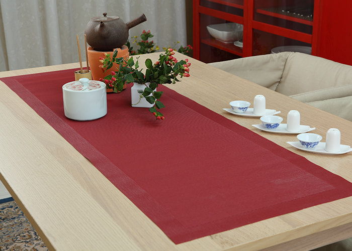 Pure Red Washable Cotton Table Runner
