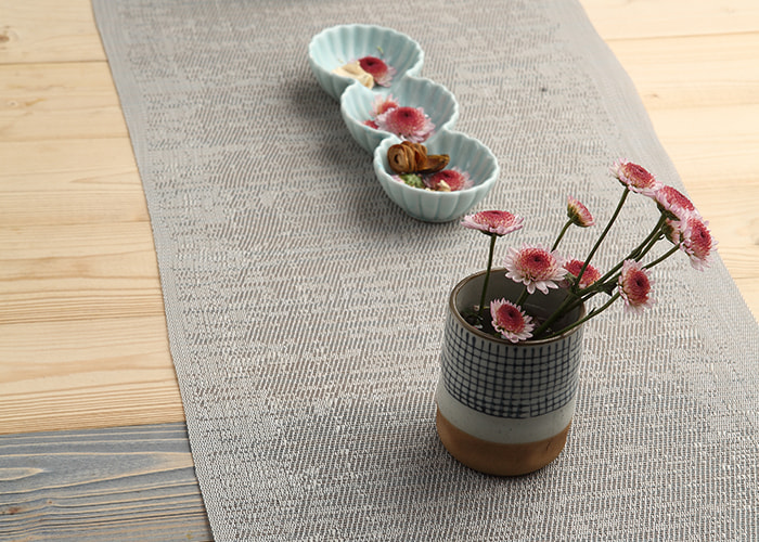 Home Solid Color Linen Table Runner(Grey)